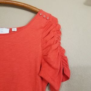 Anthropologie || postmark red button sleeve top